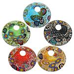 Lampwork Millefiori Fetë Pendants, Round Flat, asnjë, me fetë Millefiori, ngjyra të përziera, 50x50x9mm, : 11mm, 20PC/Shumë,  Shumë