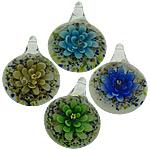 Pendants Inner Lampwork Lule, Round Flat, asnjë, lule e brendshme, ngjyra të përziera, 30x41x15mm, : 6mm, 50PC/Shumë,  Shumë