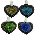 Pendants Inner Lampwork Lule, Zemër, asnjë, lule e brendshme, ngjyra të përziera, 31x39x16mm, : 7mm, 20PC/Shumë,  Shumë