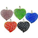 Pendants Lampwork Fashion, Zemër, asnjë, asnjë, ngjyra të përziera, 40x45x10mm, : 7mm, 50PC/Shumë,  Shumë