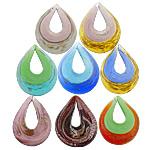 Pendants Lampwork Fashion, Lot, asnjë, fletë metalike prej argjendi dhe pluhur ari, ngjyra të përziera, 41x55x10mm, 20PC/Shumë,  Shumë