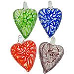 Pendants Silver Lampwork petë, Zemër, asnjë, petë argjendi, ngjyra të përziera, 29x44x14.50mm, : 6mm, 20PC/Shumë,  Shumë