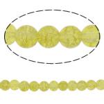 Glass Beads kërcitje, Xham, Round, asnjë, ulliri verdhë, 8mm, : 2mm, : 30.7Inç, 10Fillesat/Qese,  Qese