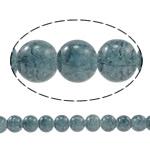 Glass Beads kërcitje, Xham, Round, asnjë, blu e zezë, 10mm, : 1.5mm, : 31.4Inç, 10Fillesat/Qese,  Qese