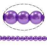 Pjekje llak Glass Beads, Xham, Round, stoving llak, asnjë, vjollcë, 8mm, : 1.5mm, : 28.3Inç, 10Fillesat/Qese,  Qese
