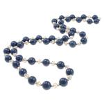 Jug Deti Shell gjerdan, with Kristal & Tunxh, Round, sintetik, asnjë, blu të errët, 10mm, :28.5Inç, 12Fillesat/Qese,  Qese