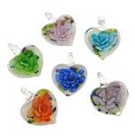 Pendants Inner Lampwork Lule, Zemër, asnjë, lule e brendshme, ngjyra të përziera, 20x26x9mm, : 4mm, 50PC/Qese,  Qese