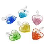 Pendants Inner Lampwork Lule, Zemër, asnjë, lule e brendshme, ngjyra të përziera, 20x28.50x11mm, : 5mm, 50PC/Qese,  Qese