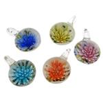 Pendants Inner Lampwork Lule, Round Flat, asnjë, lule e brendshme, ngjyra të përziera, 21.50x30.20x13mm, : 4.5mm, 50PC/Qese,  Qese