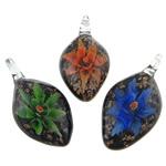Pendants Inner Lampwork Lule, Gjethe, asnjë, lule e brendshme, ngjyra të përziera, 26.20x53x12mm, : 7mm, 50PC/Qese,  Qese