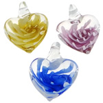 Pendants Inner Lampwork Lule, Zemër, asnjë, lule e brendshme, ngjyra të përziera, 25.50x33.50x13.50mm, : 5mm, 50PC/Qese,  Qese