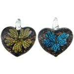 Pendants Inner Lampwork Lule, Zemër, asnjë, lule e brendshme, ngjyra të përziera, 31.50x39.50x16mm, : 7mm, 50PC/Qese,  Qese