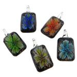 Pendants Inner Lampwork Lule, Drejtkëndësh, asnjë, lule e brendshme, ngjyra të përziera, 24x44.50x11mm, : 5.5mm, 50PC/Qese,  Qese