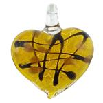 Pendants Silver Lampwork petë, Zemër, asnjë, petë argjendi, i verdhë, 41x46x11mm, : 7mm, 50PC/Qese,  Qese
