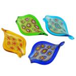 Lampwork Millefiori Fetë Pendants, Gjethe, asnjë, me fetë Millefiori, ngjyra të përziera, 43.20x72.20x7mm, : 9mm, 30PC/Qese,  Qese