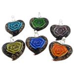 Pendants Inner Lampwork Lule, Zemër, asnjë, lule e brendshme, ngjyra të përziera, 37x43.20x10.20mm, : 6.2mm, 50PC/Qese,  Qese