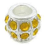 Beads bizhuteri Diamant i rremë, Alloy zink, Rondelle, Ngjyra argjend praruar, me diamant i rremë, asnjë, , nikel çojë \x26amp; kadmium falas, 13.50x13.50x11.50mm, : 7mm, 50PC/Qese,  Qese