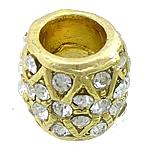 Beads bizhuteri Diamant i rremë, Alloy zink, Daulle, ngjyrë ari praruar, me diamant i rremë, asnjë, , nikel çojë \x26amp; kadmium falas, 13x11.50mm, : 7mm, 50PC/Qese,  Qese