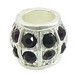 Beads bizhuteri Diamant i rremë, Alloy zink, Daulle, Ngjyra argjend praruar, me diamant i rremë, asnjë, , nikel çojë \x26amp; kadmium falas, 13.50x13.50x11mm, : 7.5mm, 50PC/Qese,  Qese