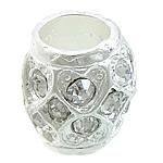 Beads bizhuteri Diamant i rremë, Alloy zink, Daulle, Ngjyra argjend praruar, me diamant i rremë, asnjë, , nikel çojë \x26amp; kadmium falas, 12x12mm, : 6.5mm, 50PC/Qese,  Qese