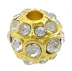 Beads bizhuteri Diamant i rremë, Alloy zink, Round, ngjyrë ari praruar, me diamant i rremë, asnjë, , nikel çojë \x26amp; kadmium falas, 10mm, : 3mm, 30PC/Qese,  Qese