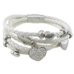 Cord Bracelets PU, with diamant i rremë Shtrim bead, Shape Tjera, asnjë, 5-fije floku, e bardhë, 17x14x11mm, 7x8x8mm,20x10mm, 14x12x9mm, 10x9x9mm,, : 8.5Inç, 3Fillesat/Shumë,  Shumë