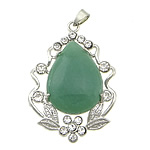 Pendants aventurine, Aventurine jeshile, Lot, ngjyrë platin praruar, me diamant i rremë, 38x49x9mm, : 5mm, 10PC/Qese,  Qese