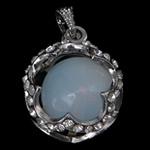 Deti Pendants opal, Deti Opal, with Tunxh, Lule, ngjyrë platin praruar, me diamant i rremë, asnjë, 23.50x23.50x20mm, : 4x5mm, 20PC/Qese,  Qese