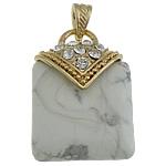 Bruz Natyrore, with Tunxh, Drejtkëndësh, ngjyrë ari praruar, me diamant i rremë, e bardhë, 30x42x12mm, : 7x4.5mm, 20PC/Shumë,  Shumë
