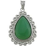 E gjelbër varëse agat, Jeshile agat, Lot, ngjyrë platin praruar, asnjë, 34x49x8mm, : 7x4.5mm, 10PC/Shumë,  Shumë