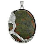 Pendants gur i çmuar bizhuteri, Unakite, with Tunxh, Oval Flat, ngjyrë platin praruar, asnjë, 32x49x9.50mm, : 7x5mm, 10PC/Shumë,  Shumë