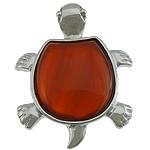 Pendants Red agat, Breshkë, ngjyrë platin praruar, asnjë, 33x42x9mm, : 6x4mm, 20PC/Shumë,  Shumë