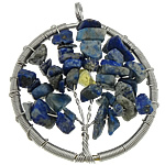 Natyrore lapis lazuli, with Tunxh, Round Flat, ngjyrë platin praruar, asnjë, 47x56x10mm, : 5mm, 20PC/Shumë,  Shumë