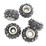 Indonesia European Beads, rondelle, with platinum color brass double core & resin rhinestone, without troll, 16x9mm, Hole:Approx 5MM, Sold by PC