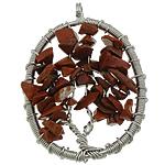 Pendants gur i çmuar bizhuteri, Red Jasper, Oval Flat, ngjyrë platin praruar, asnjë, 36x49x10mm, : 4.5mm, 20PC/Shumë,  Shumë