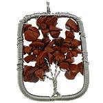 Pendants gur i çmuar bizhuteri, Red Jasper, Drejtkëndësh, ngjyrë platin praruar, asnjë, 36x54x10mm, : 5mm, 20PC/Shumë,  Shumë
