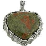 Pendants gur i çmuar bizhuteri, Unakite, with Tunxh, Zemër, ngjyrë platin praruar, me diamant i rremë, 33x36x10mm, : 7x4mm, 20PC/Shumë,  Shumë