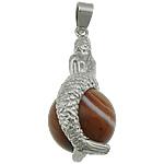 Agat pendants bizhuteri, dantella agat, Sirenë, ngjyrë platin praruar, asnjë, 40x19x17mm, : 5x4mm, 20PC/Shumë,  Shumë