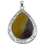 Verdhë veze Stone, with Tunxh, Lot, ngjyrë platin praruar, asnjë, 33x49x8mm, : 5x4mm, 20PC/Shumë,  Shumë