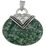 Pendants gur i çmuar bizhuteri, Stone Gjelbër Spot, with Tunxh, Oval Flat, ngjyrë platin praruar, asnjë, 39x40x12mm, : 8x5mm, 20PC/Shumë,  Shumë