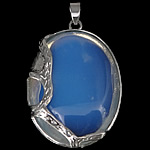 Deti Pendants opal, Deti Opal, Oval Flat, ngjyrë platin praruar, asnjë, asnjë, 32x49x9.50mm, : 7x5mm, 10PC/Shumë,  Shumë