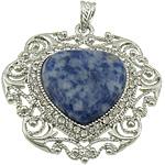 Pendants gur i çmuar bizhuteri, Sodalitet, with Tunxh, Zemër, ngjyrë platin praruar, me diamant i rremë, 51x52x8mm, : 7x5mm, 10PC/Shumë,  Shumë