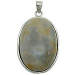 Agat pendants bizhuteri, Madagascar agat, Oval Flat, ngjyrë platin praruar, asnjë, 22x36x8mm, : 5x4mm, 20PC/Shumë,  Shumë