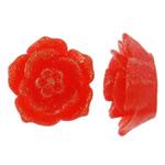 Rrëshirë Cabochon, Lule, asnjë, pluhur ari, i kuq, 15x14x8mm, 200PC/Qese,  Qese
