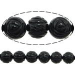 Beads Natyrore Zi agat, Black agat, Lule, Gdhendur, asnjë, 12mm, : 1.5mm, : 14Inç, 29PC/Fije floku,  14Inç,