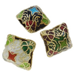 Beads Smooth Cloisonne, Romb, i përzier, 16x15mm, : 8x4mm, 20PC/Qese,  Qese