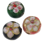 Beads Smooth Cloisonne, Round Flat, i përzier, 14x9mm, : 1.5mm, 50PC/Qese,  Qese