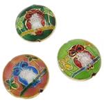 Beads Smooth Cloisonne, Round Flat, i përzier, 19x8mm, : 1.5mm, 40PC/Qese,  Qese
