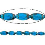 Rërë Beads Gold Lampwork, Oval, asnjë, rërë ari, blu të errët, 25x14mm, : 2.5mm, 50PC/Shumë,  Shumë