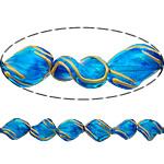 Beads dorë Lampwork, Kthesë, brushwork, asnjë, blu, 17x13x7mm, : 2mm, 10PC/Shumë,  Shumë